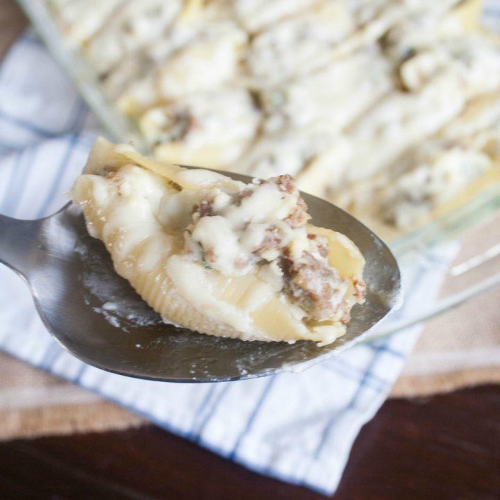 Italian Sausage Alfredo Stuffed Shells