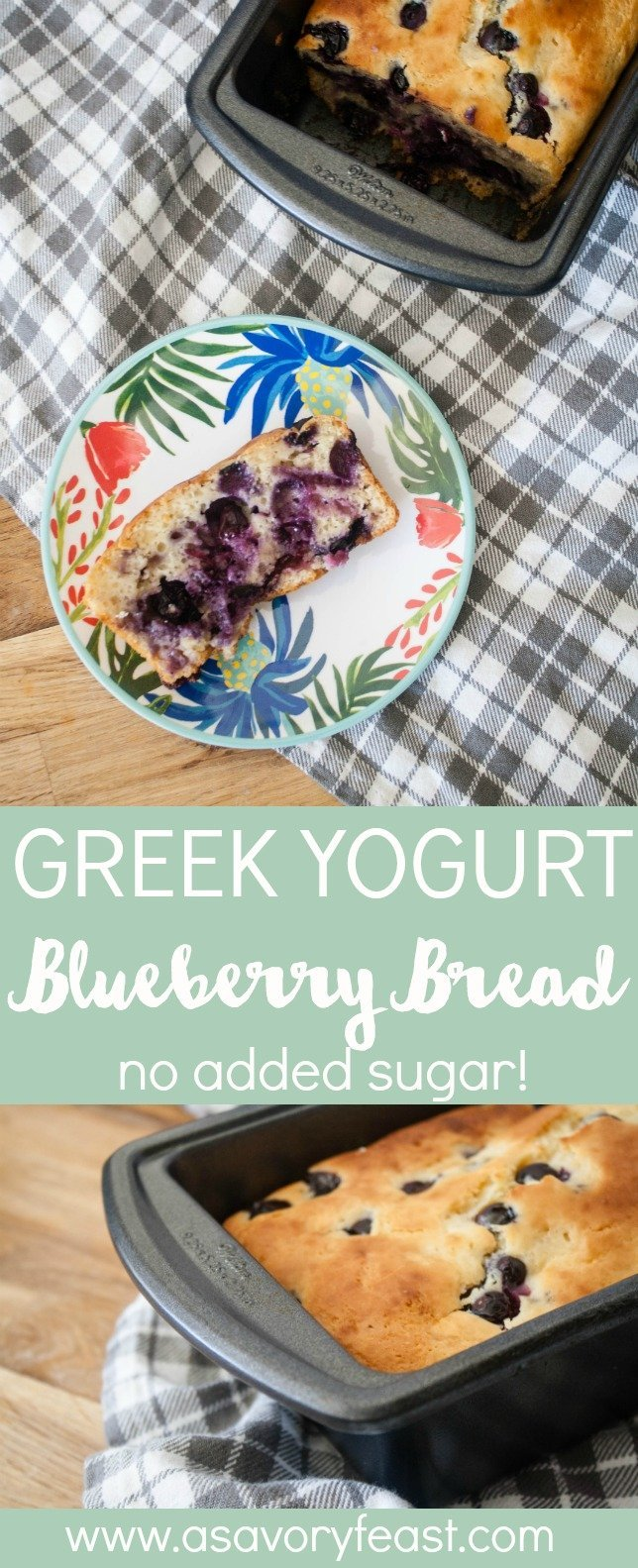 Fresh blueberries and honey are all the sweetness you need in this healthier Greek Yogurt Blueberry Bread! The greek yogurt gives this bread such a moist, fluffy texture. Make this bread today and have breakfast for the rest of the week!