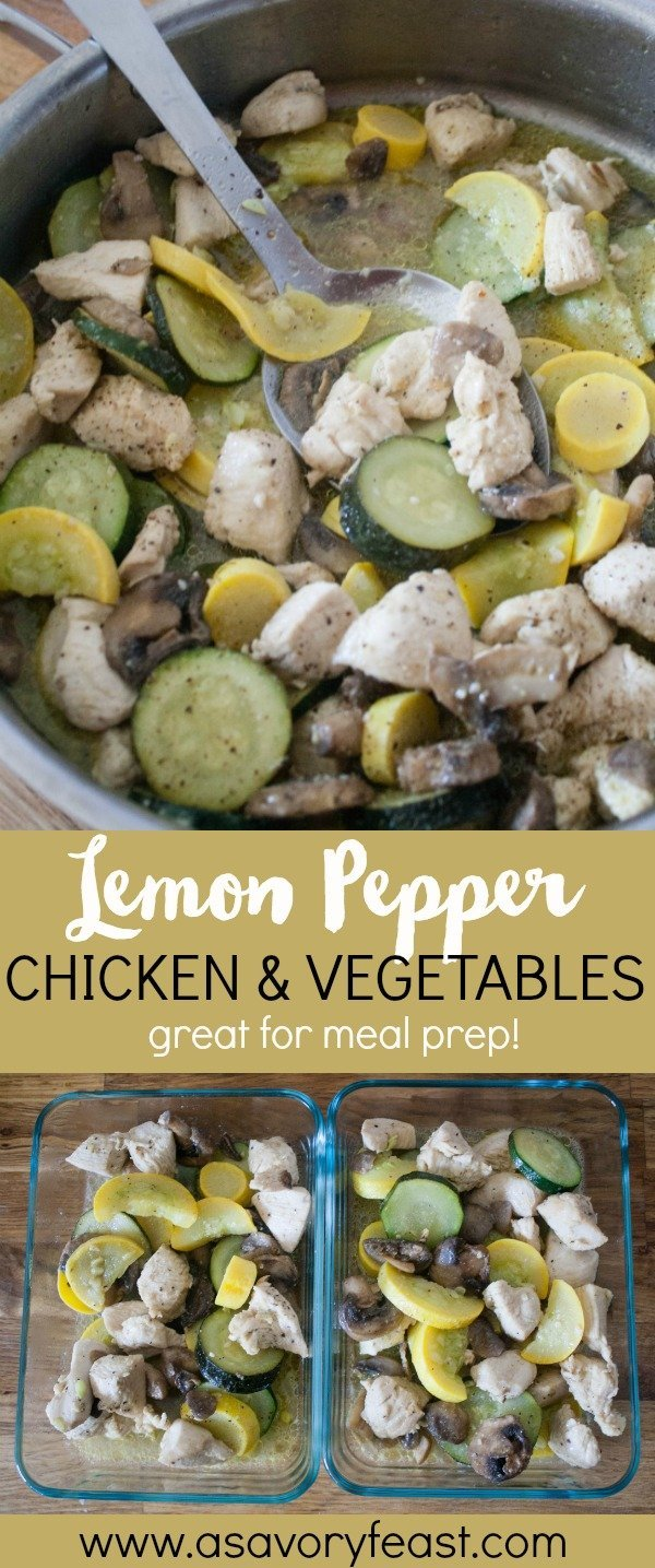 This Lemon Pepper Chicken and Vegetables recipe works great for a low carb meal, whether you have it for dinner or pack it up for lunch. If you meal prep your lunches for the week, you will love adding this flavorful recipe to your rotation!
