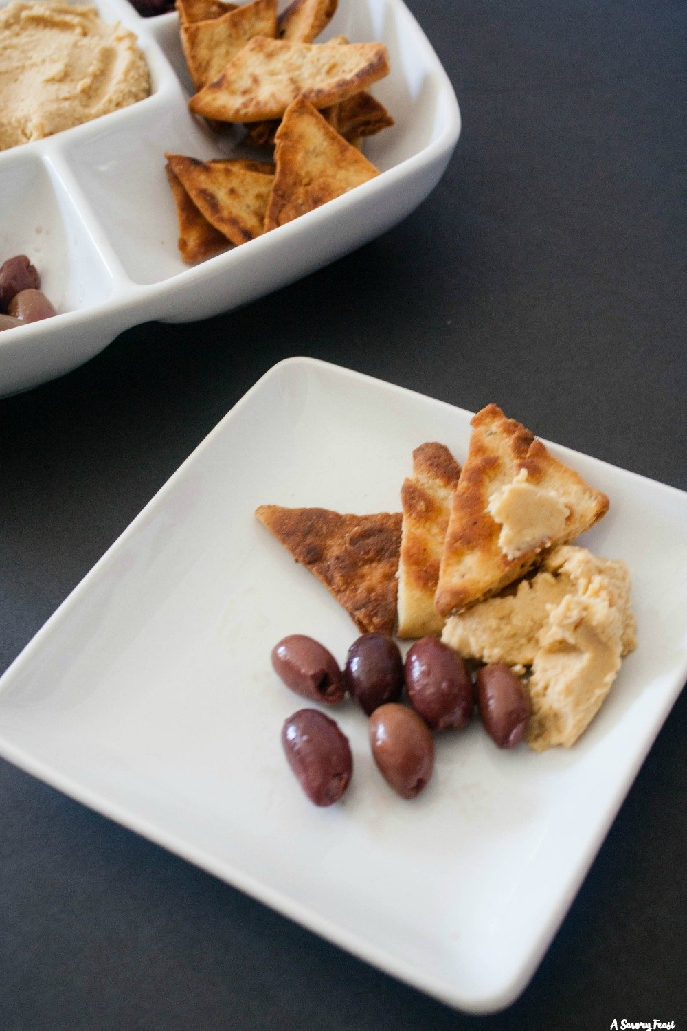 Hummus and Olives Appetizer Tray Idea