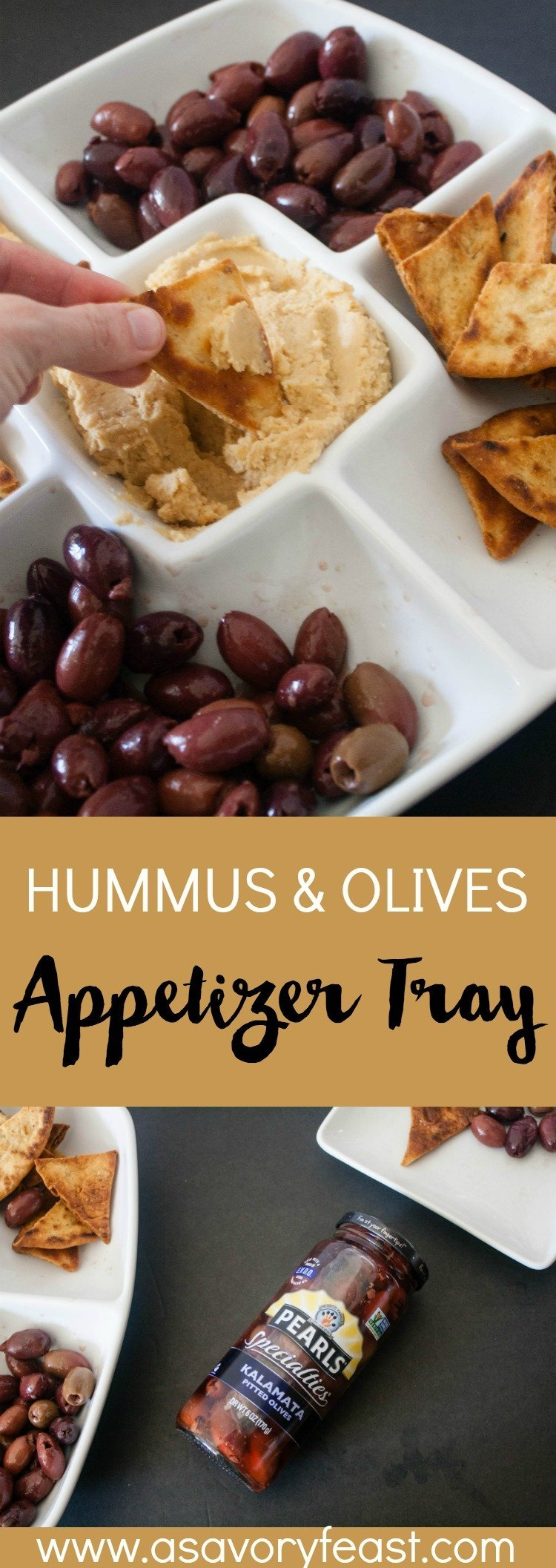#AD Need a simple, semi-homemade appetizer idea for Easter? Your guests will love this Hummus and Olives Appetizer Tray! Learn how to make homemade pita chips and hummus to serve along with Pearls® Specialties olives on this tasty, flavor-packed tray.