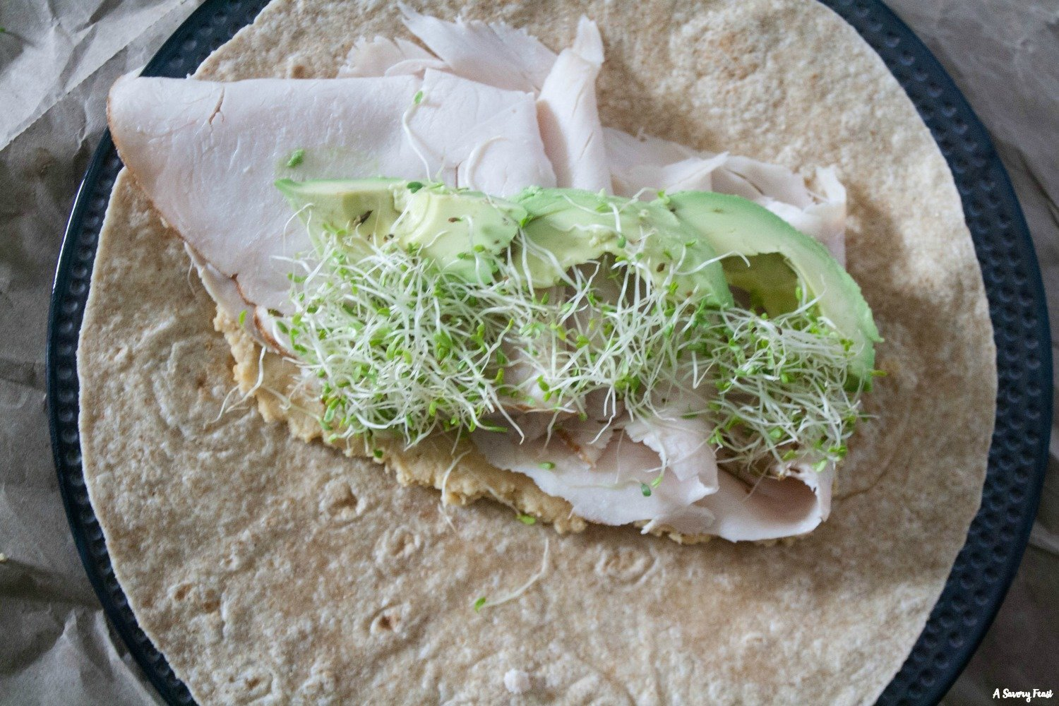 Easy lunch idea: Turkey & Hummus Wraps