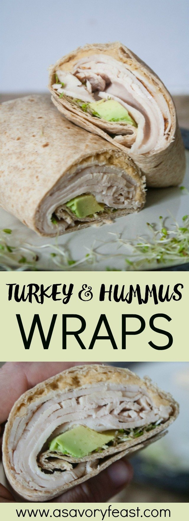 Lunch time doesn't have to be a struggle. Make something that is healthy, flavorful and quick with these Turkey & Hummus Wraps. Use lunch meat or leftover turkey and add it to a tortilla along with hummus, avocado and sprouts.