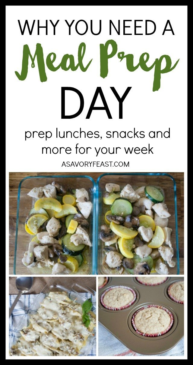 Save time and money by having a meal prep day at the beginning of the week. Meal plan your dinners, lunches and snacks and then get a jump start by prepping food for the week. Great for busy moms! Meal prep your lunches to bring to work or school, making some healthy snacks to have in the house and get a jump start on your dinners for the week with these tips and ideas. A great way to stay on a budget and eat healthy.