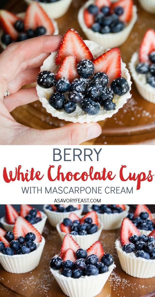 Berry White Chocolate Cups with Mascarpone Cream are a gorgeous red, white and blue treat for your summer parties. Perfect for Memorial Day or 4th of July, this dessert starts with a homemade white chocolate cup that is filled with a mascarpone cream and topped with fresh strawberries and blueberries.