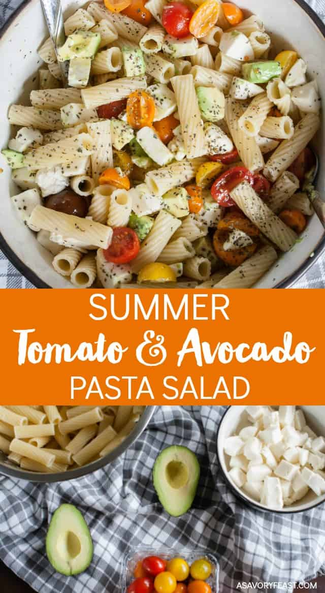 This colorful Summer Tomato and Avocado Pasta Salad is the perfect addition to your cookout. It's a light, flavorful dish that will make everyone want seconds. Packed with colorful cherry tomatoes, avocado, fresh mozzarella cheese and a lemon herb olive oil dressing.