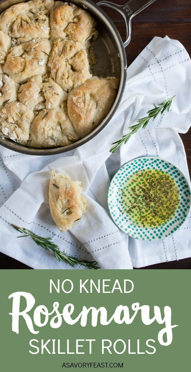 Looking for a side to go with an Italian dinner? No Knead Rosemary Skillet Rolls will complement your meal perfectly. This simple recipe is a great way to get started with using yeast and making homemade bread. The rosemary adds a wonderful flavor! These rolls are great dipped in a mixture of olive oil and Italian spices.