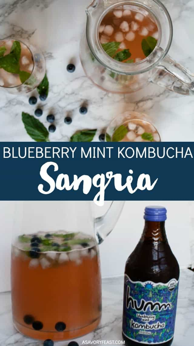 Blueberry Mint Kombucha makes a delicious addition to this unique sangria recipe. This simple drink is perfect for your summer parties. It's so easy to make and sure to be a hit!