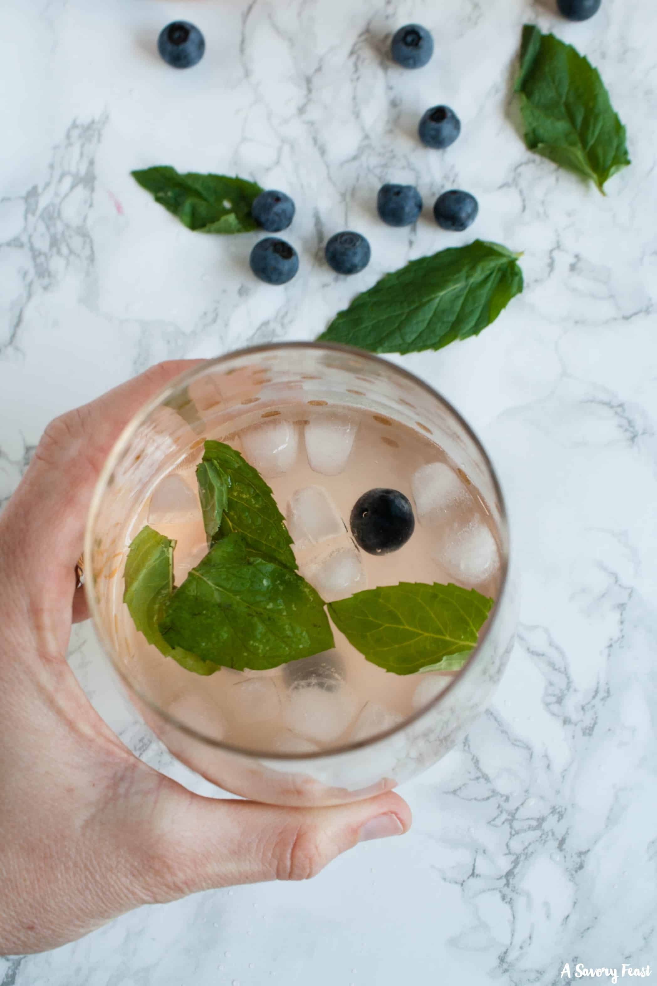 No summer party is complete without a pitcher of this Blueberry Mint Kombucha Sangria