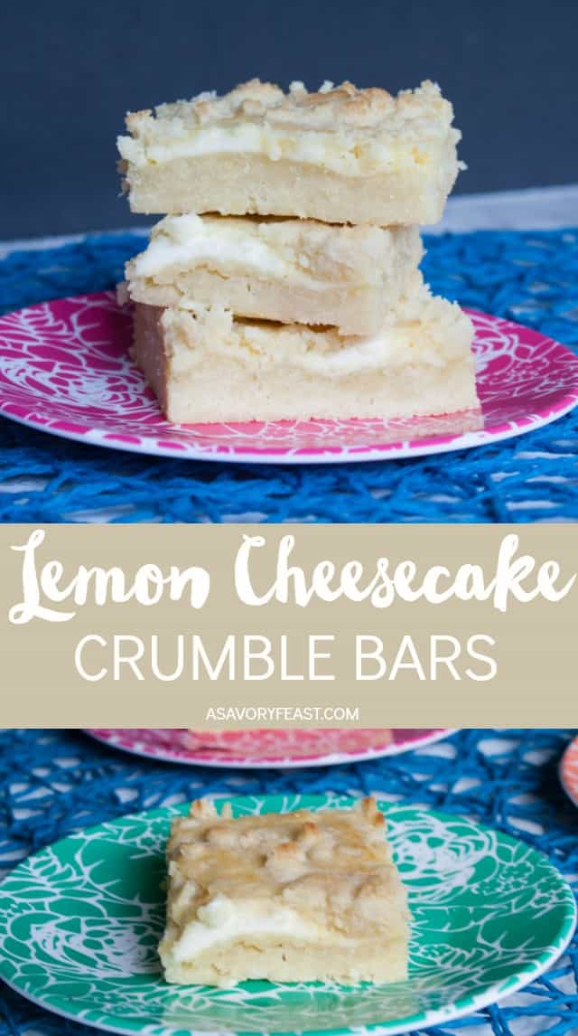 Three layers make up these delicious Lemon Cheesecake Crumble Bars. First comes a shortbread base, then a lemon cheesecake layer. It's all topped with a buttery crumble that brings the whole dessert together. This treat is a must this summer! #summerdessert #barcookies #lemondesserts