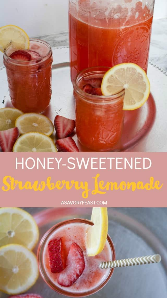 Get a taste of summer with this refreshingHoney-Sweetened Strawberry Lemonade. You won't even be able to tell that it's made without sugar! Use fresh or frozen strawberries and fresh squeezed lemons along with honey to make this delicious drink in a blender. Perfect for summer parties! #summerdrink #strawberrylemonade #sugarfree #healthy