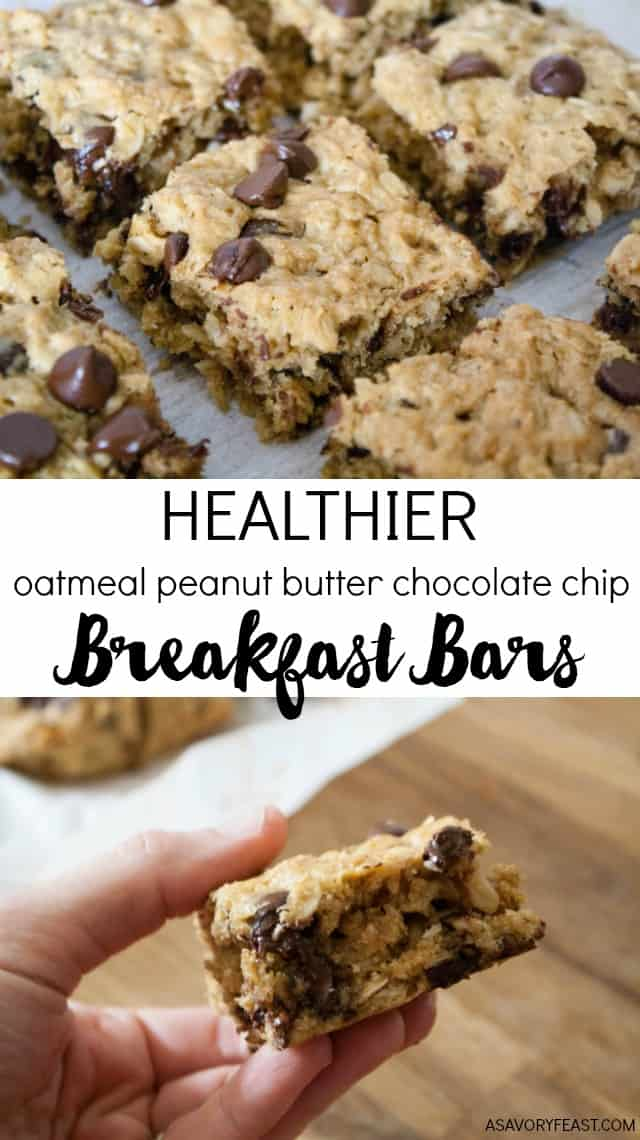 Everything you need for breakfast: oats, peanut butter and a little bit of chocolate! These Healthier Oatmeal Peanut Butter Chocolate Chip Breakfast Bars are low in sugar and so filling!