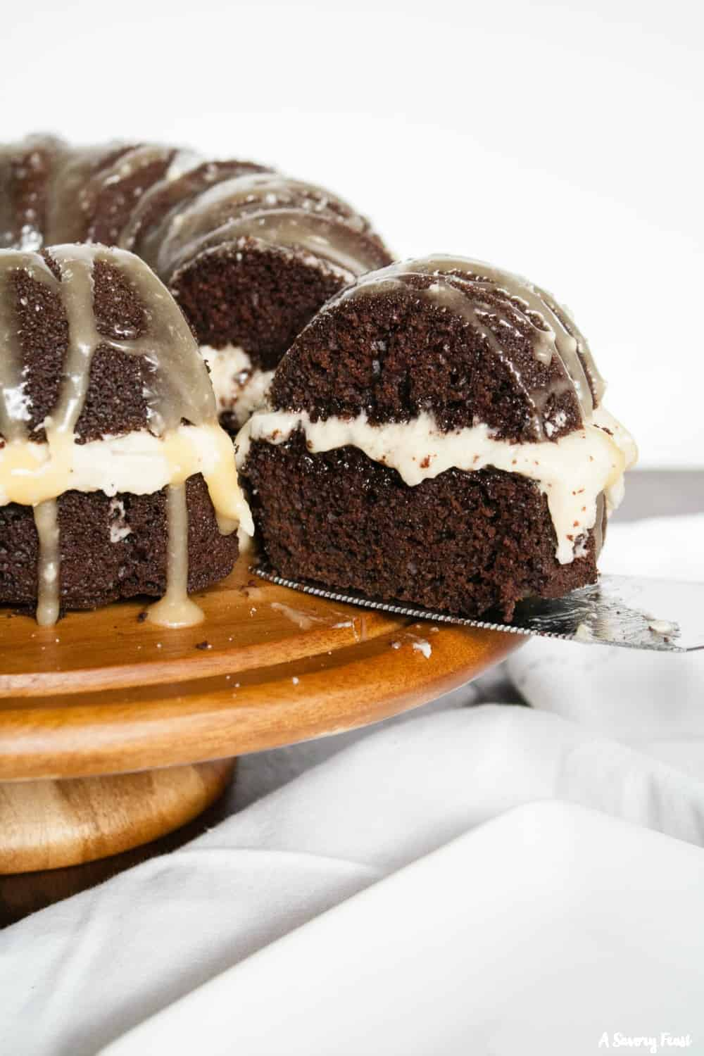 Chocolate bundt cake with caramel frosting.