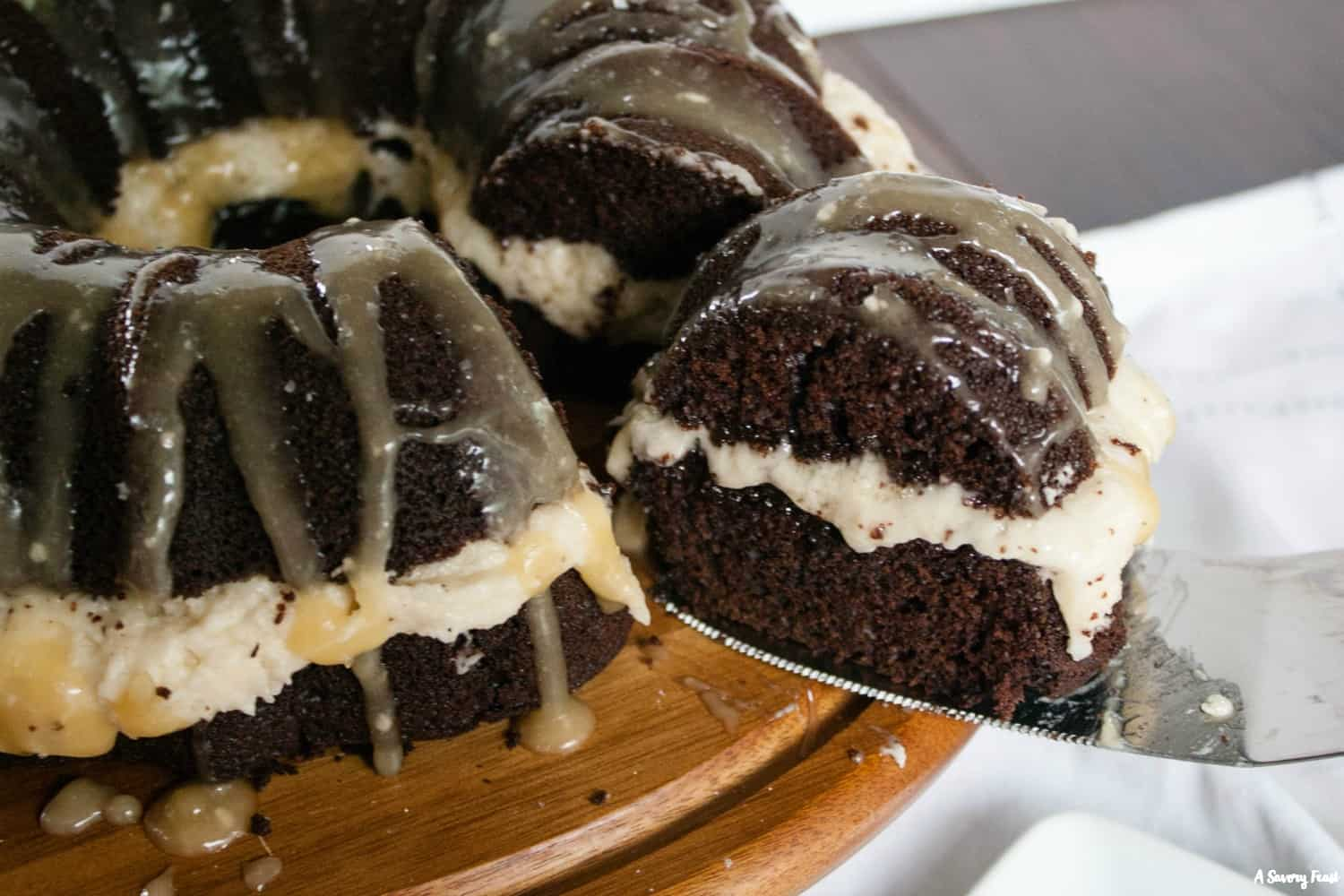 Need a beautiful, delicious dessert for a party? Salted Caramel Chocolate Bundt Cake