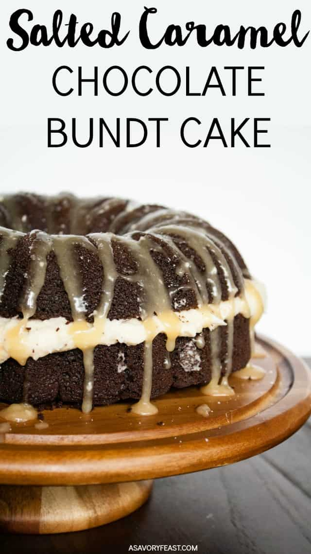 Take a slice of salted caramel goodness! A rich chocolate bundt cake cut in half and stuffed with a fluffy caramel frosting, then drizzled with caramel glaze and sea salt. Such a decadent cake fit for any occasion! Salted Caramel Chocolate Bundt Cake #bundtcake #saltedcaramel #dessert #cake