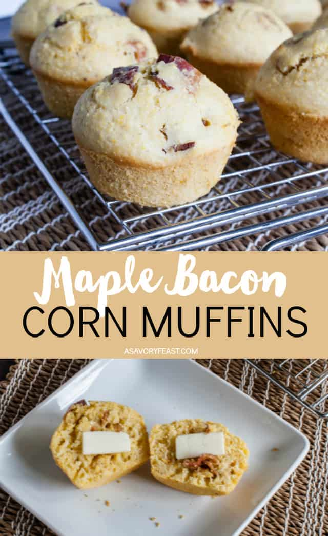 Sweet and savory come together for a delicious muffin that can be breakfast or a side at dinner! Maple Bacon Corn Muffins are sweetened with maple syrup and have pieces of bacon baked right in. Serve them with some scrabbled eggs for breakfast or with a tomato soup for dinner. These muffins are tasty no matter what time of day you enjoy them!