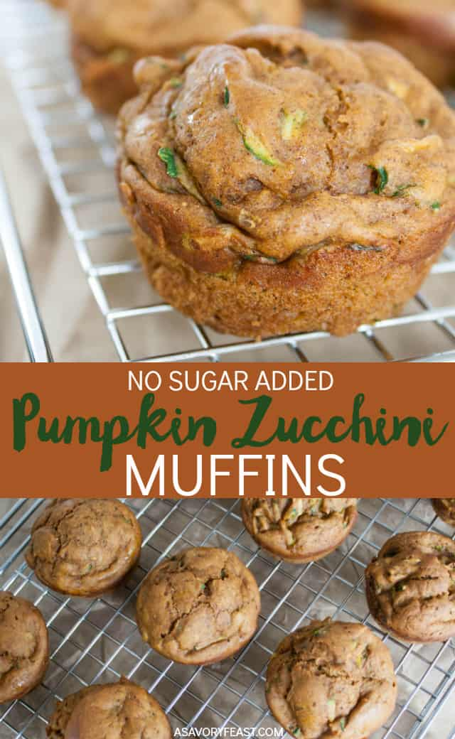 Grab-and-go breakfasts are a must for back to school season! No Sugar Added Pumpkin Zucchini Muffins are a nutritious choice, too. Packed with pumpkin and zucchini and made without refined sugar, it's a great way to start your day. These muffins are quick and easy to make, too!