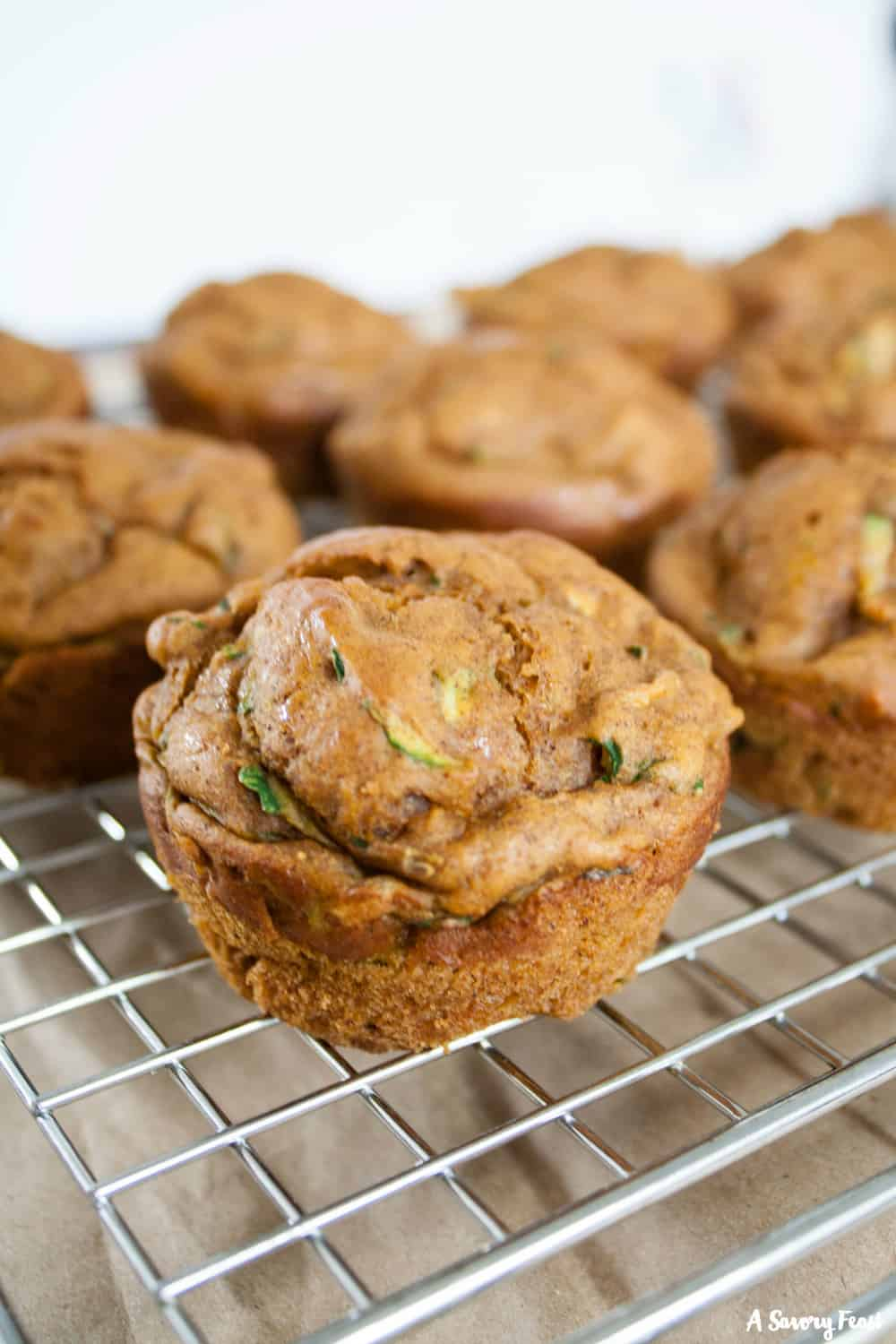 Grab-and-go breakfast are the best for back to school season! No Sugar Added Pumpkin Zucchini Muffins