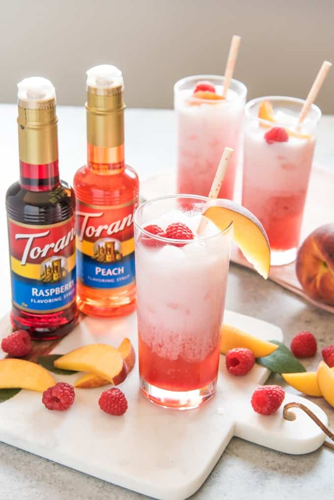 Raspberry Peach Italian Cream Sodas from House of Nash Eats