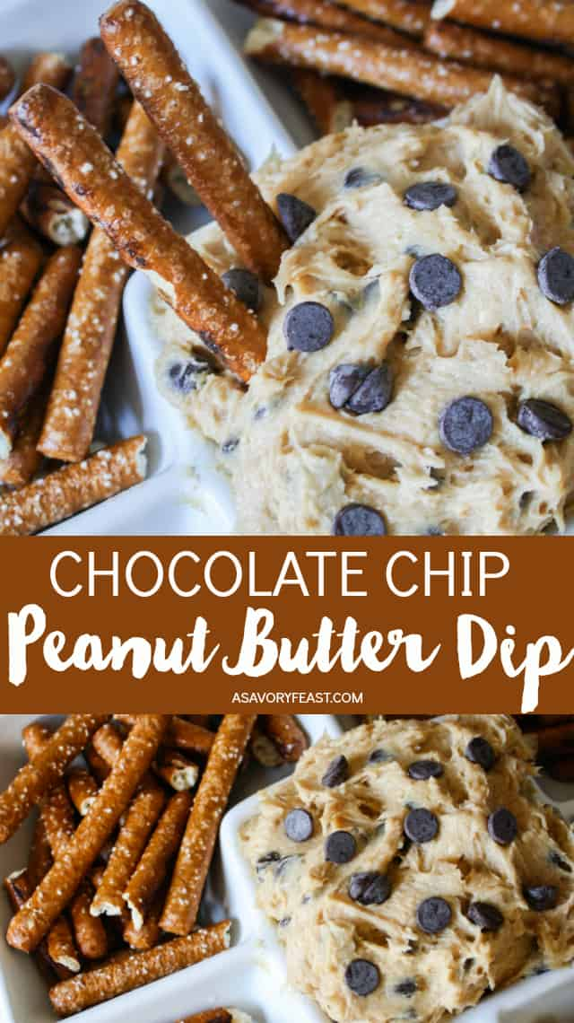 Need a quick party appetizer? Chocolate Chip Peanut Butter Dip is sure to please! Made with just a few ingredients that you probably have on hand, this dip is great served with pretzels, graham crackers or vanilla wafers!
