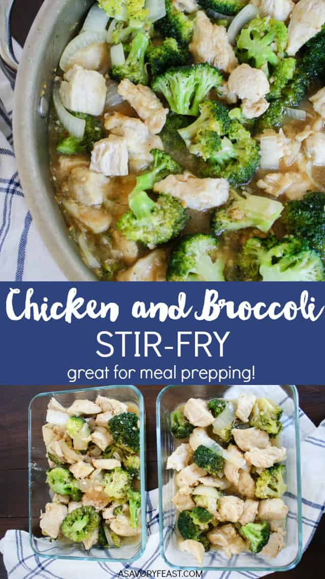 Easy Chicken and Broccoli Stir-Fry is great for a quick dinner or for meal prepping. Made with only a few simple ingredients. Serve it by itself for a low carb meal or add some rice to make it more filling.