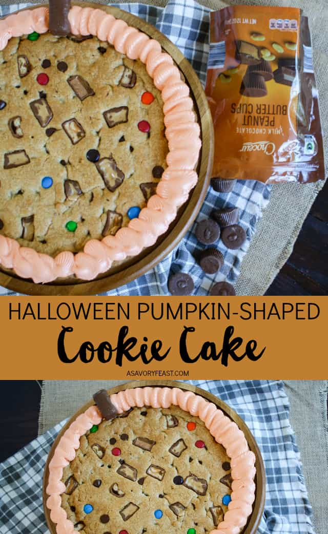 #AD Your Halloween party isn't complete without a dessert like Halloween Pumpkin-Shaped Cookie Cake! You can find all the ingredients you need for this dessert at @aldiusa, including Choceur Fair Trade Peanut Butter Cups. Sure to be a hit this Halloween, this dessert features a classic cookie cake with pieces of peanut butter cups and other Halloween candies baked in. Decorated with orange frosting to look like a pumpkin!
