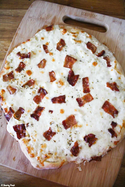 Homemade pizza recipe idea: Bacon Alfredo Pizza.