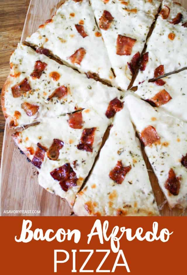 Make it a homemade pizza night with this Bacon Alfredo Pizza! Use your favorite pizza dough and top with alfredo sauce, mozzarella cheese and bacon. You'll want to add a homemade pizza night to your regular meal plan once you try this recipe!