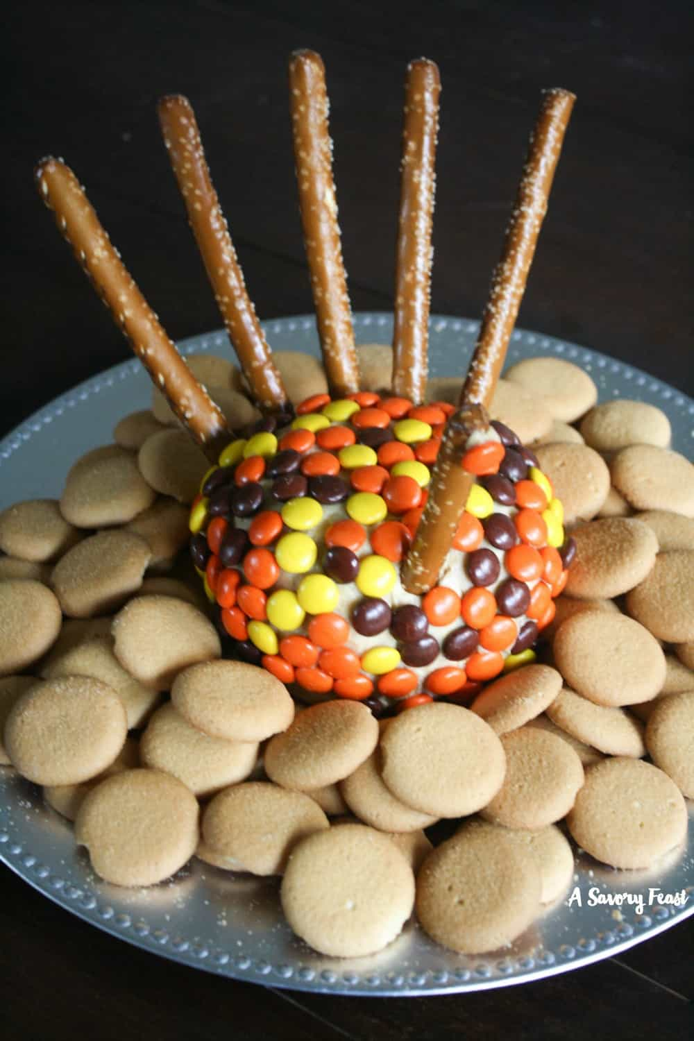 Thanksgiving Turkey Peanut Butter Cheeseball from A Savory Feast