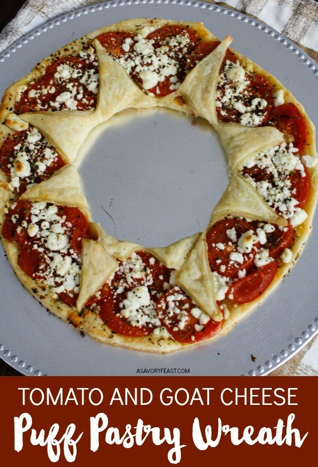 Complete your holiday appetizer spread with this easy Tomato and Goat Cheese Puff Pastry Wreath! Use a sheet of store-bought puff pastry to create this beautiful dish stuffed with fresh tomatoes, crumbled goat cheese and Italian spices. Step-by-step guide with pictures to help you create a puff pastry wreath this Christmas!