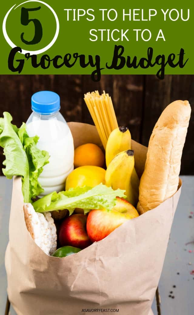 Need some ideas to get your grocery budget under control? Here are 5 easy tips that you can use to save money on groceries and stick to your budget!Get organized with a grocery budget and use these easy tips to help you stick to it.