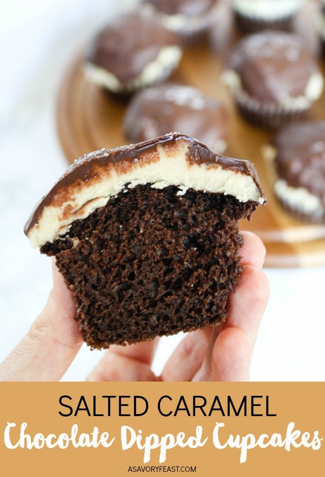 Raise your hand if you love salted caramel and chocolate together! Salted Caramel Chocolate Dipped Cupcakes take this flavor combo to another level by dressing up a boxed cake mix. This decadent dessert features a homemade caramel frosting. It is dipped in dark chocolate and sprinkled with sea salt.