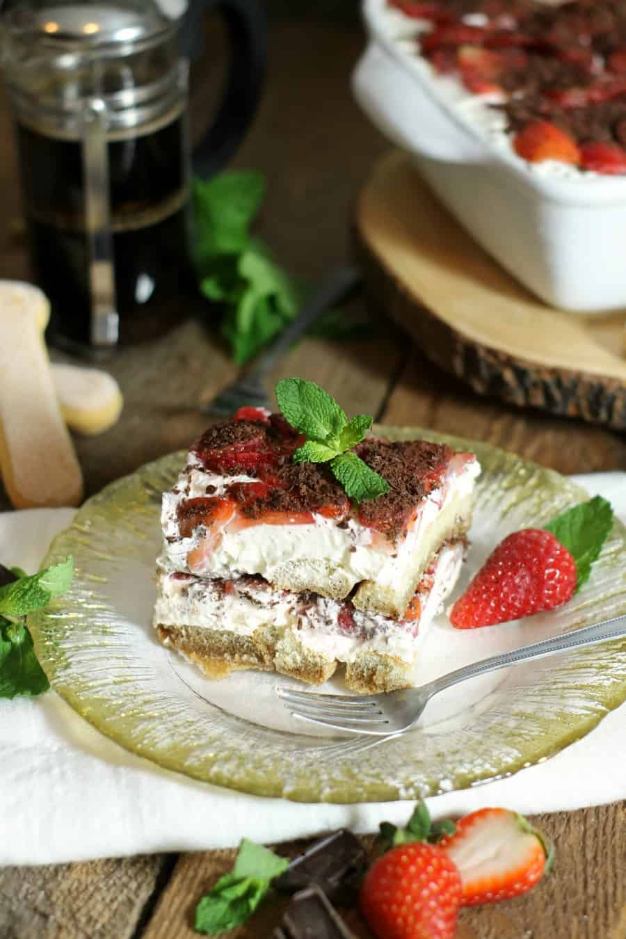 Strawberry Tiramisu with Dark Chocolate from Earth Food and Fire
