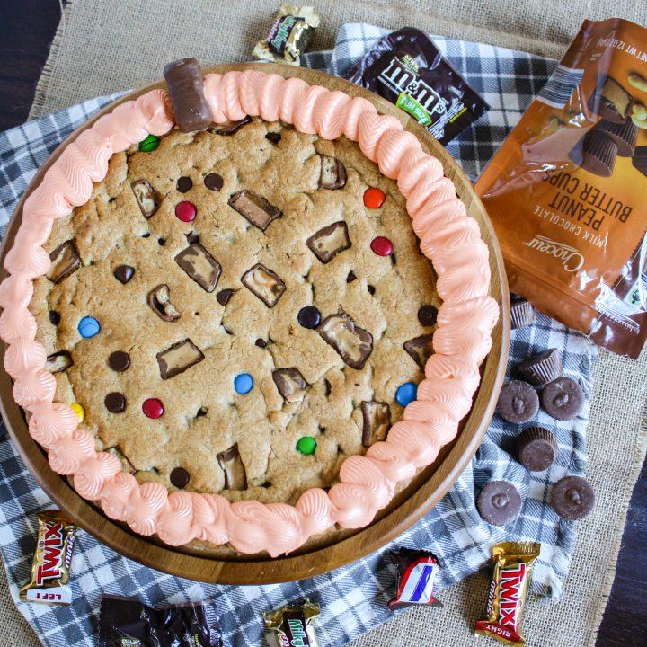 Halloween Pumpkin-Shaped Cookie Cake