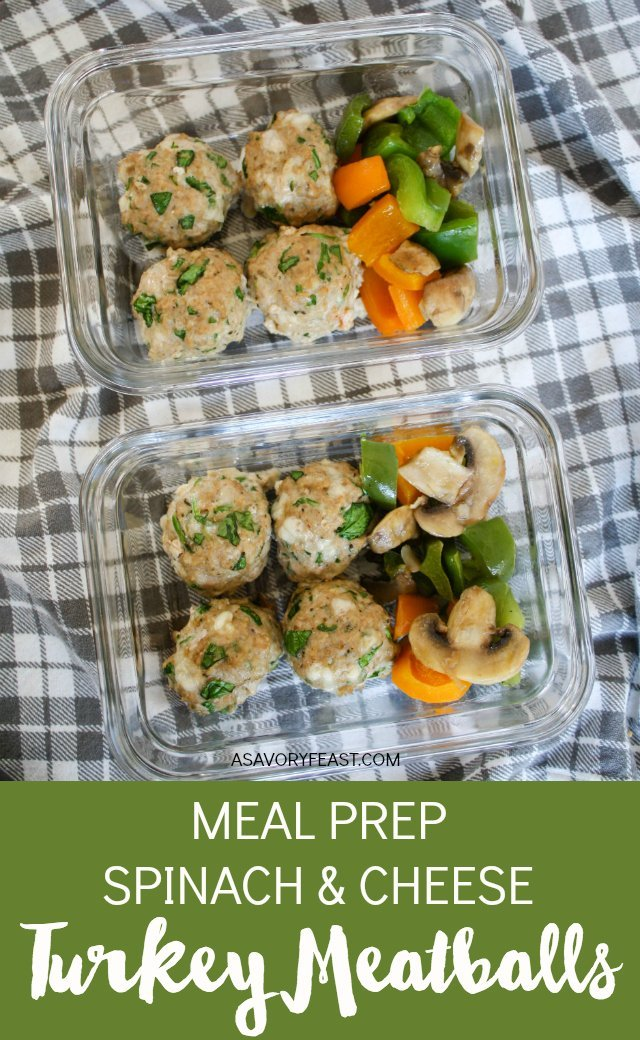 Meal prepping made easy with these Spinach and Cheese Turkey Meatballs! Made without breadcrumbs so they are low carb and gluten free. Great for making in bulk and freezing, too!