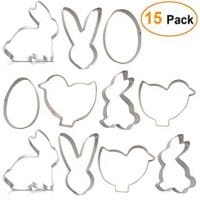 15 Piece Easter Cookie Cutter Set with Bunny Chicken Egg Chick Rabbit Shapes Fondant Biscuit Moulds, Large Size … (Easter)
