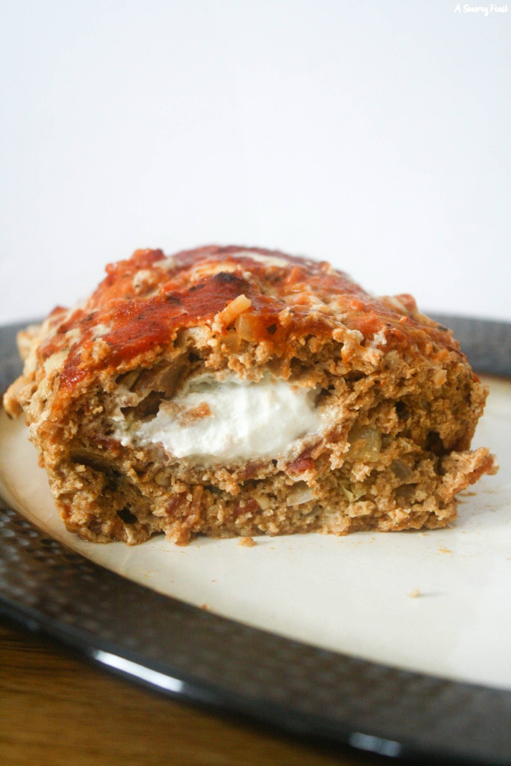 Bacon and Goat Cheese Stuffed Turkey Meatloaf is a simple dinner recipe that is packed with flavor!