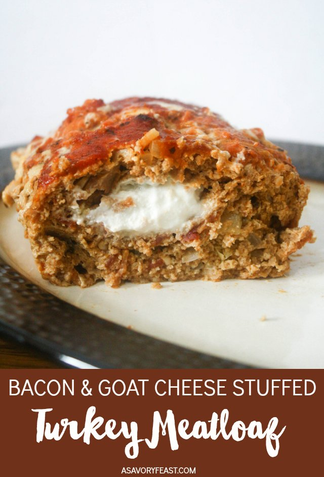 Bacon and cheese is probably one of the best combinations, wouldn't you agree? I use some form of this combo for so many of my recipes! Today, I'm sharing the best meatloaf I've ever made: Bacon & Goat Cheese Stuffed Turkey Meatloaf. Ground turkey meatloaf with bacon mixed into it, stuffed with a generous amount of goat cheese.
