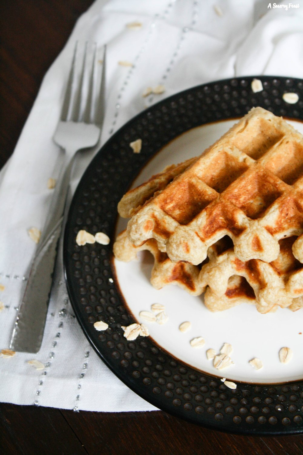 Waffles from scratch with oats in the batter
