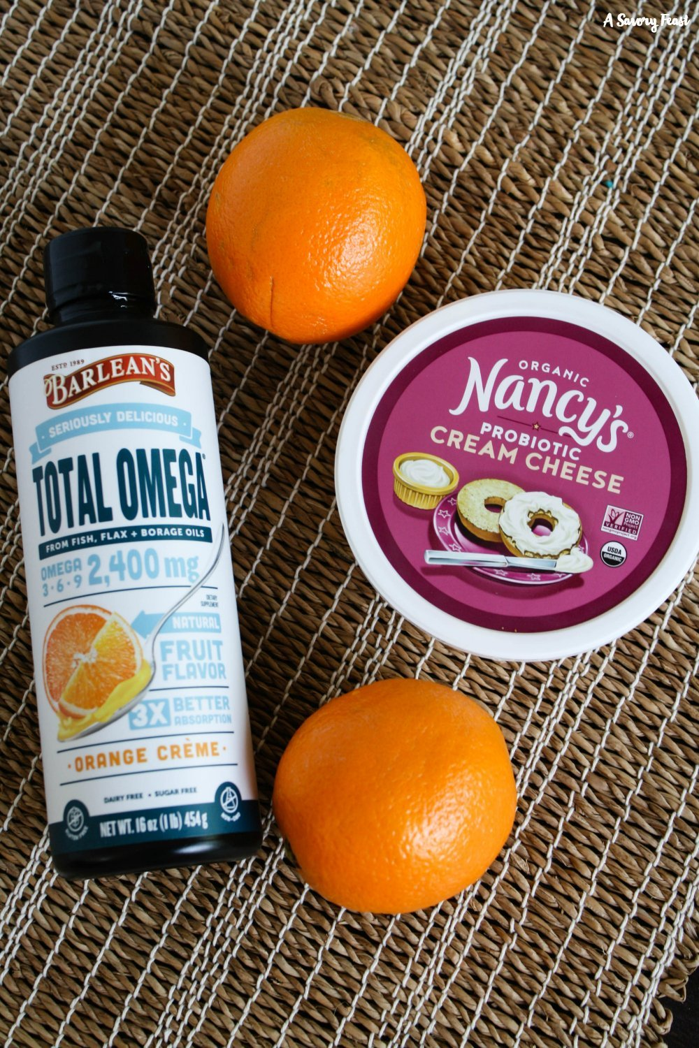 Barlean's Seriously Delicious Total Omega Orange Creme and Nancy's Probiotic Yogurt