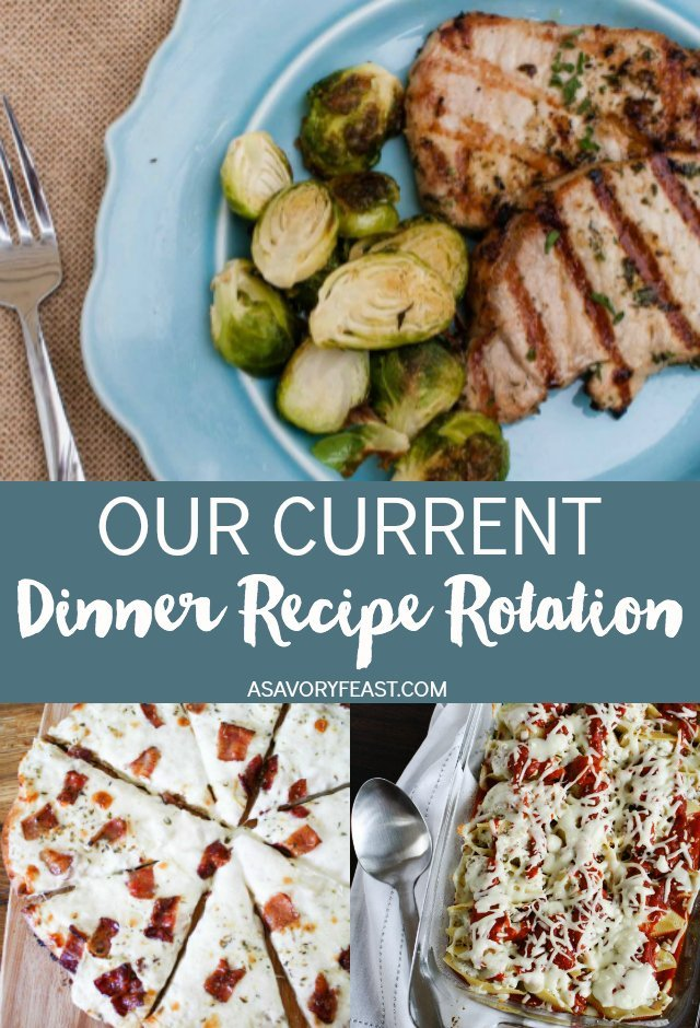 Stuck in a meal planning rut? Get some inspiration from our current dinner recipe rotation. Find some new favorites to add to your rotation!