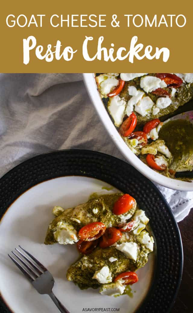 Weeknight dinners can be both fancy AND easy! This Goat Cheese and Tomato Pesto Chicken is so flavorful, yet so simple to throw together. Use store-bought or homemade pesto to season the chicken and add fresh cherry tomatoes and goat cheese before baking.