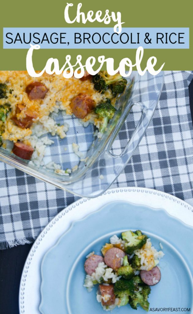One pan + simple ingredients you have in the house + yummy family-approved flavors = a winning new dinner recipe to add to the rotation! This Cheesy Sausage, Broccoli and Rice Casserole is great for busy nights.