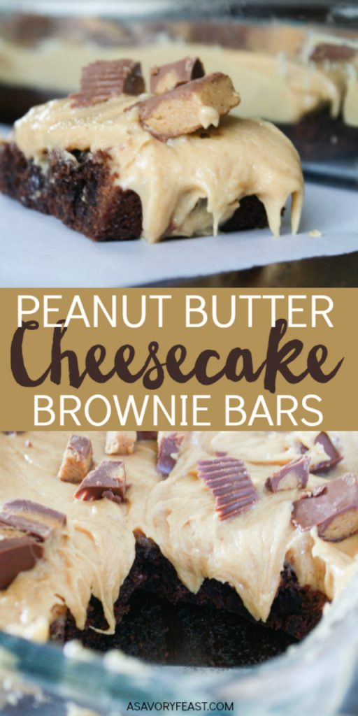 These are the most decadent brownies ever! Start with your favorite boxed brownie mix and top with a peanut butter cheesecake layer and Reese's Peanut Butter Cups.