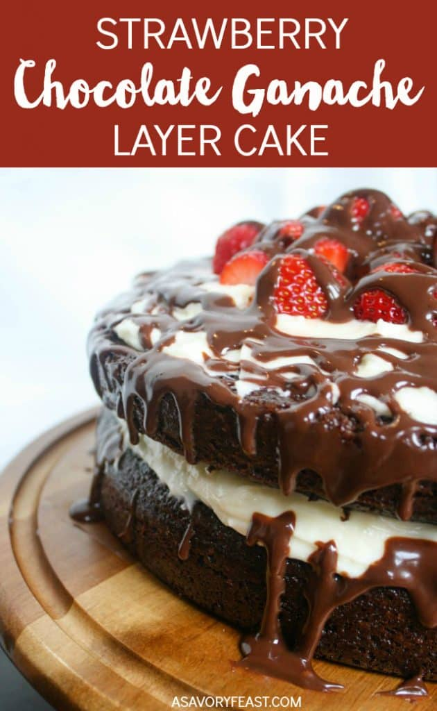 All the heart eyes for this cake! Strawberry Chocolate Ganache Layer Cake features two layers of homemade from-scratch chocolate cake with decadent cheesecake frosting. All topped with fresh strawberries and rich chocolate ganache.