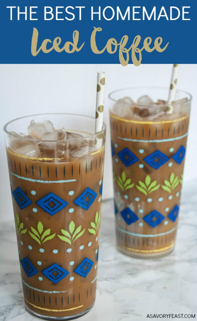 Here's how to make the BEST homemade iced coffee at a fraction of the price of a coffee shop! This recipe makes a big batch that is great for a party or keeping in the fridge so you can enjoy iced coffee every day.