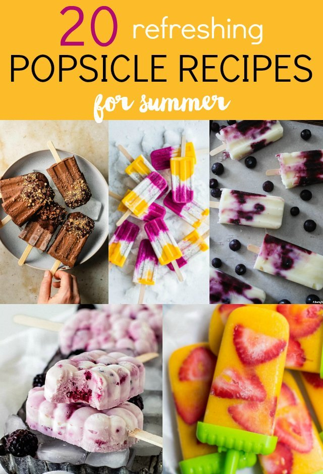 Summer is here! And what treat says Summertime better than a refreshing popsicle? Here are 20 popsicle recipes to try this season! Everything from fruity to chocolate, healthy to decadent. You'll find a new frozen treat to try here.