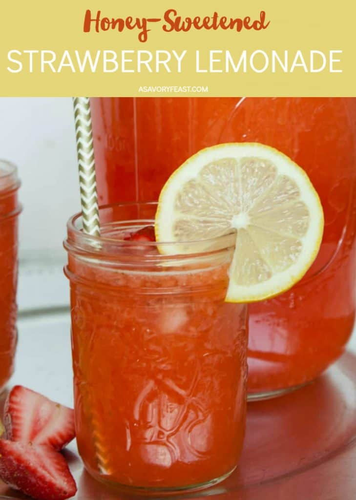 Sip this refreshing Honey-Sweetened Strawberry Lemonade all summer long! Made with fresh strawberries and sweetened with honey instead of granulated sugar for a healthier summertime drink.