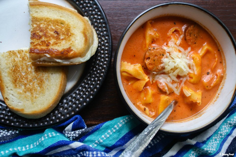 Tomato Tortellini Soup pairs perfectly with grilled cheese!