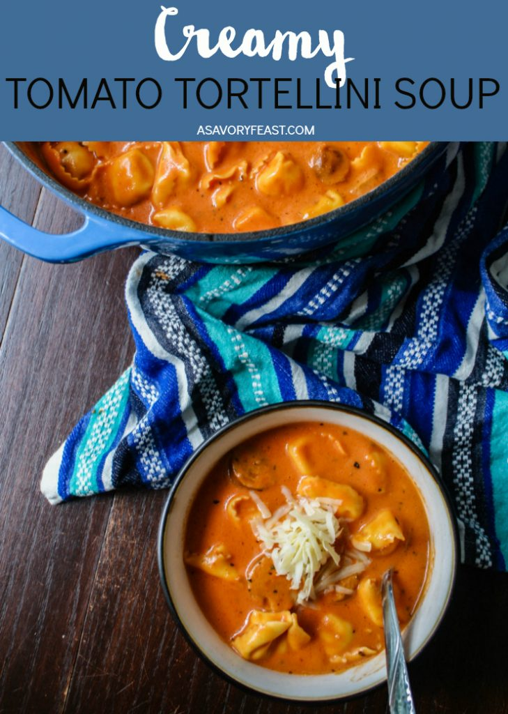If you are craving some comfort food, this creamy Tomato Tortellini Soup is just the thing. Made from-scratch with simple ingredients, this soup is ready in under 30 minutes. It pairs perfectly with garlic bread or even grilled cheese!